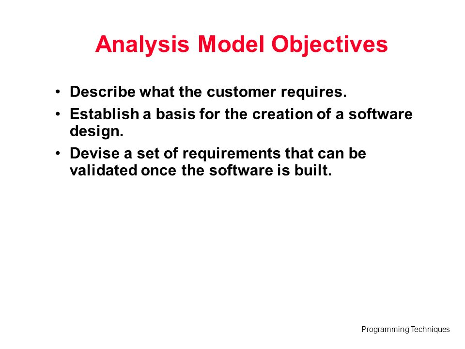 Analysis Model Objectives