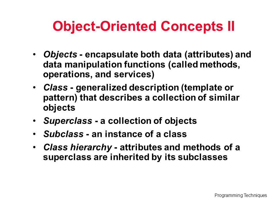 Object-Oriented Concepts II