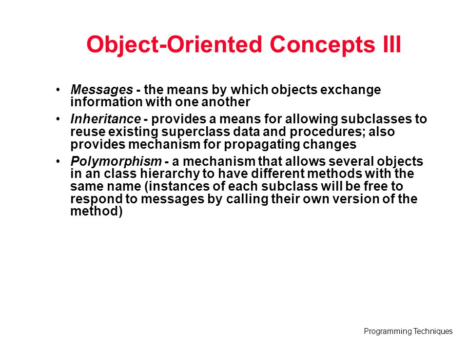 Object-Oriented Concepts III