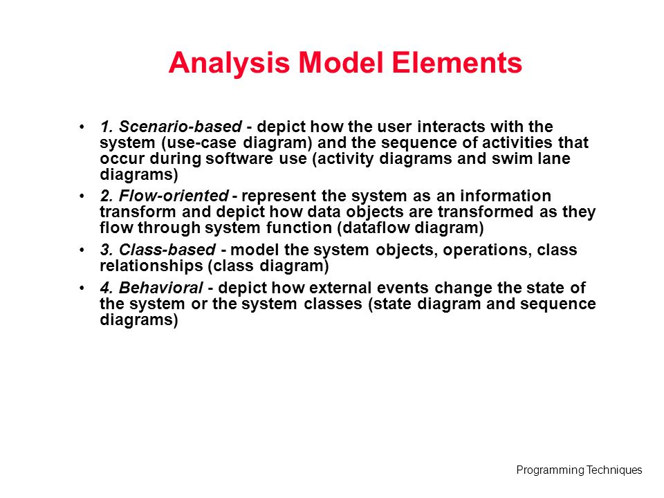 Analysis Model Elements