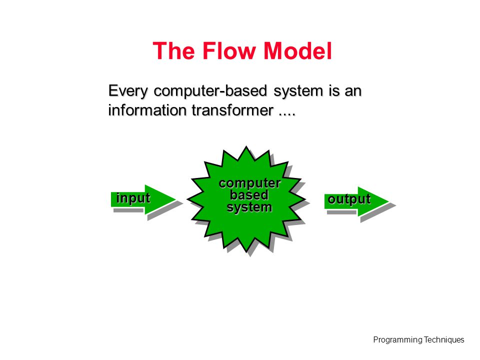 The Flow Model Every computer-based system is an