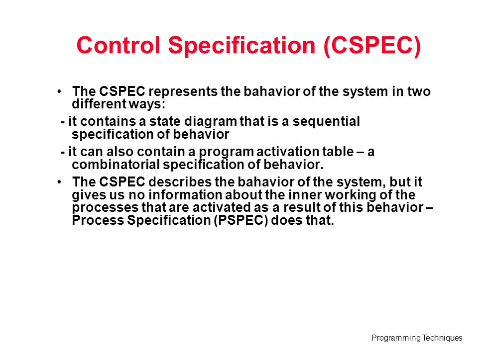 Control Specification (CSPEC)