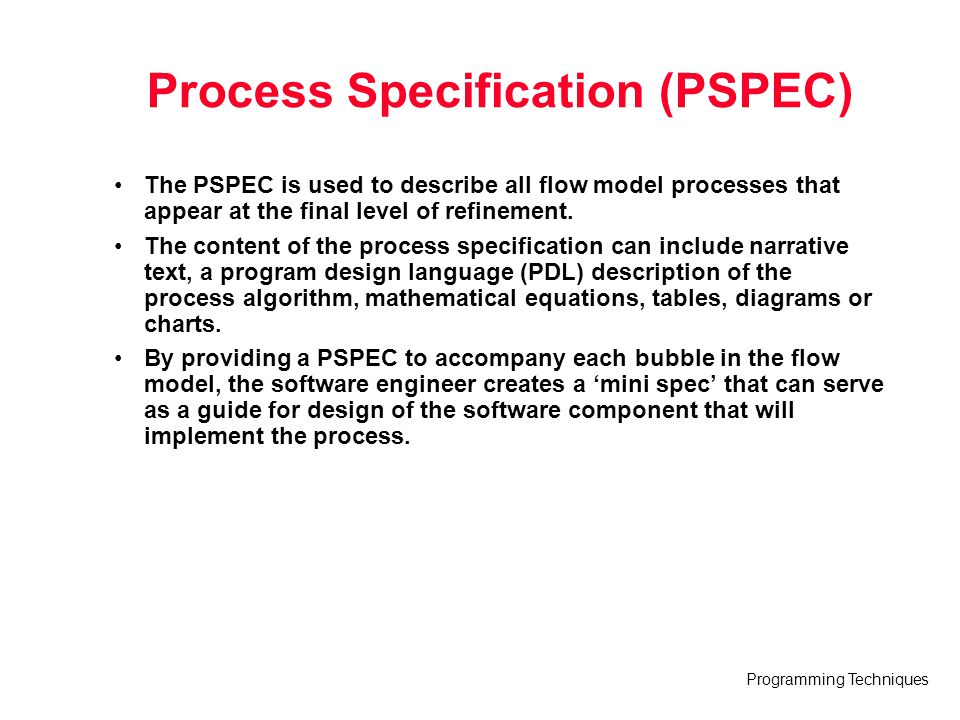 Process Specification (PSPEC)