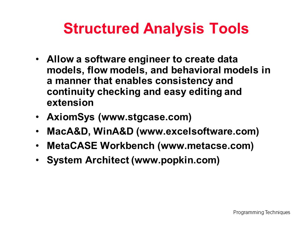 Structured Analysis Tools