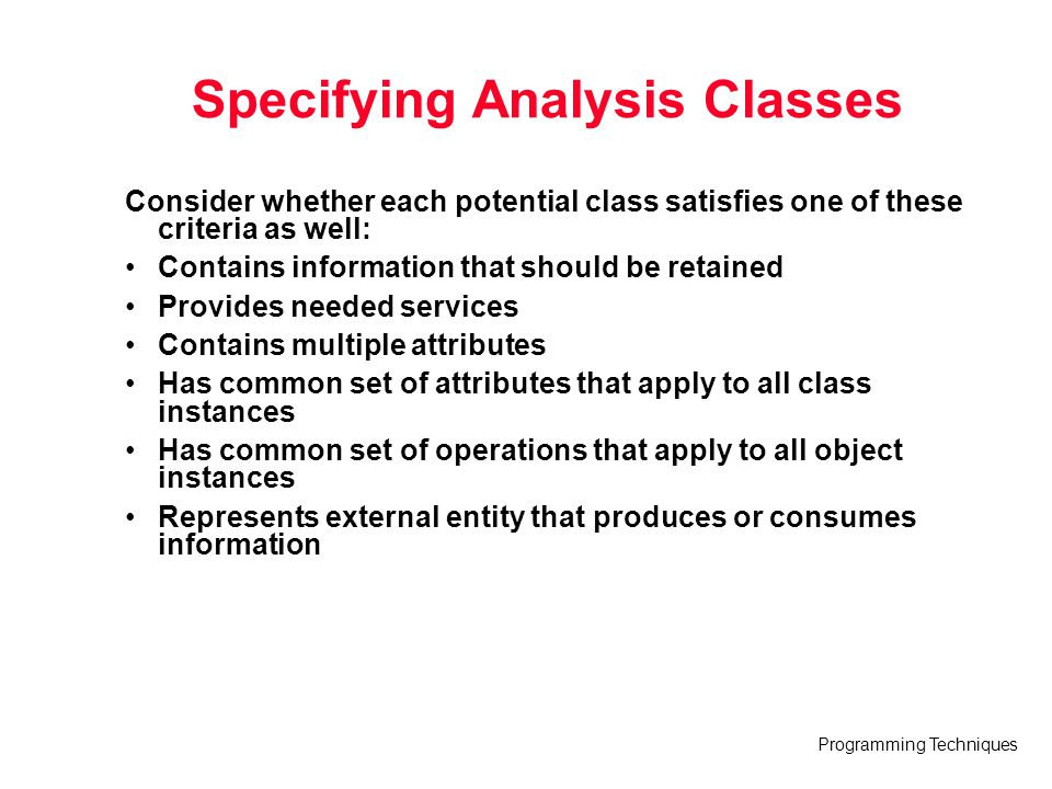 Specifying Analysis Classes