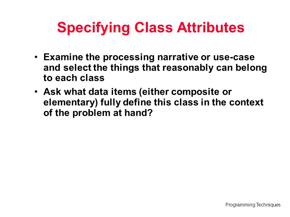 Specifying Class Attributes
