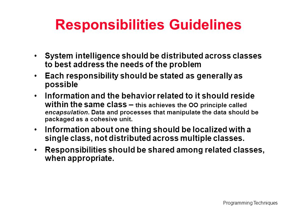 Responsibilities Guidelines