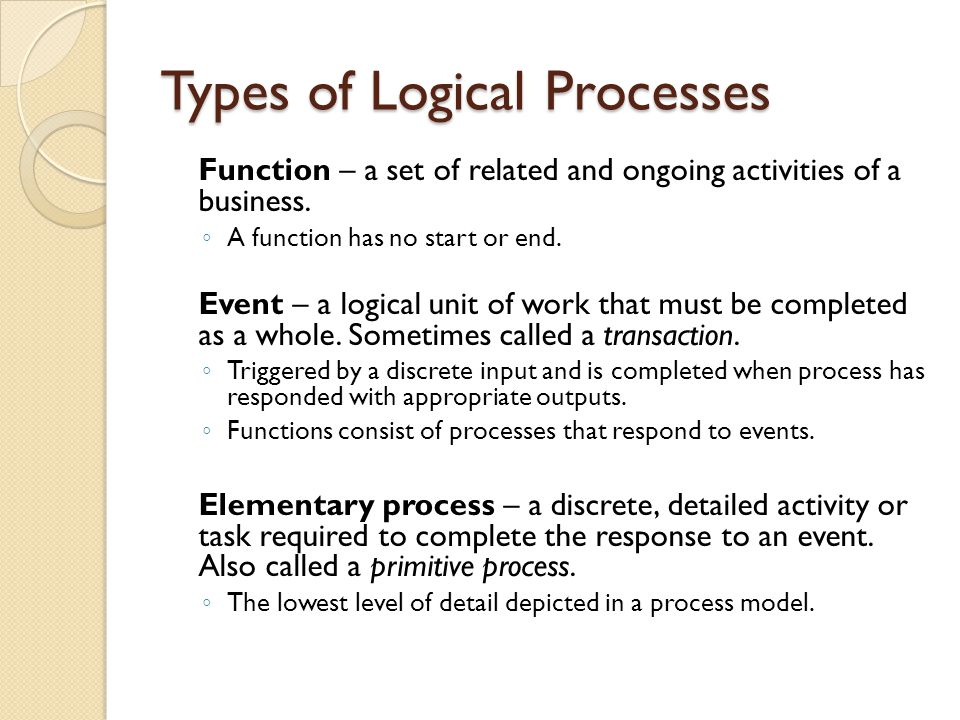 Types of Logical Processes