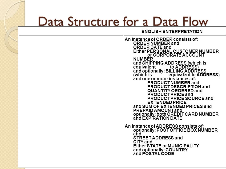 Data Structure for a Data Flow