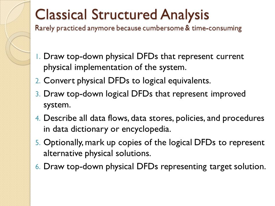 Classical Structured Analysis Rarely practiced anymore because cumbersome & time-consuming