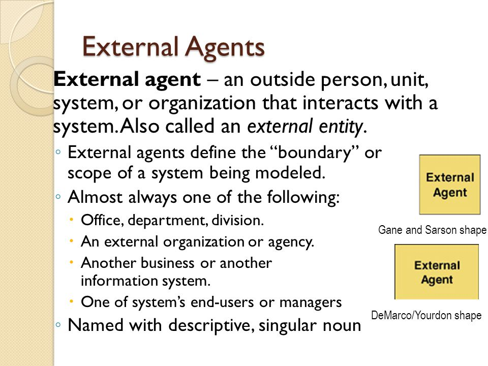 External Agents External agent – an outside person, unit, system, or organization that interacts with a system. Also called an external entity.