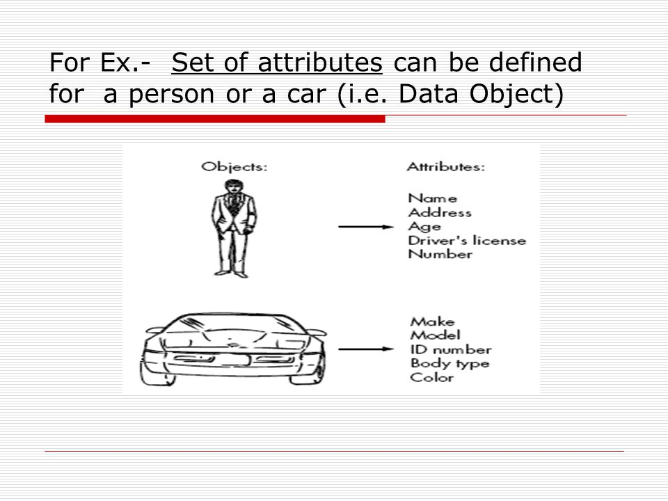 For Ex. - Set of attributes can be defined for a person or a car (i. e