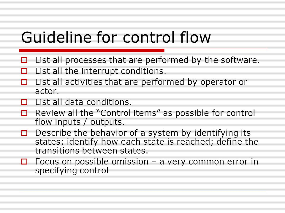 Guideline for control flow