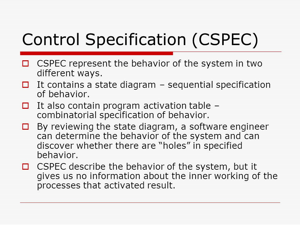 Control Specification (CSPEC)