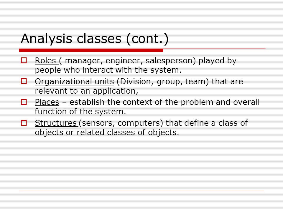 Analysis classes (cont.)