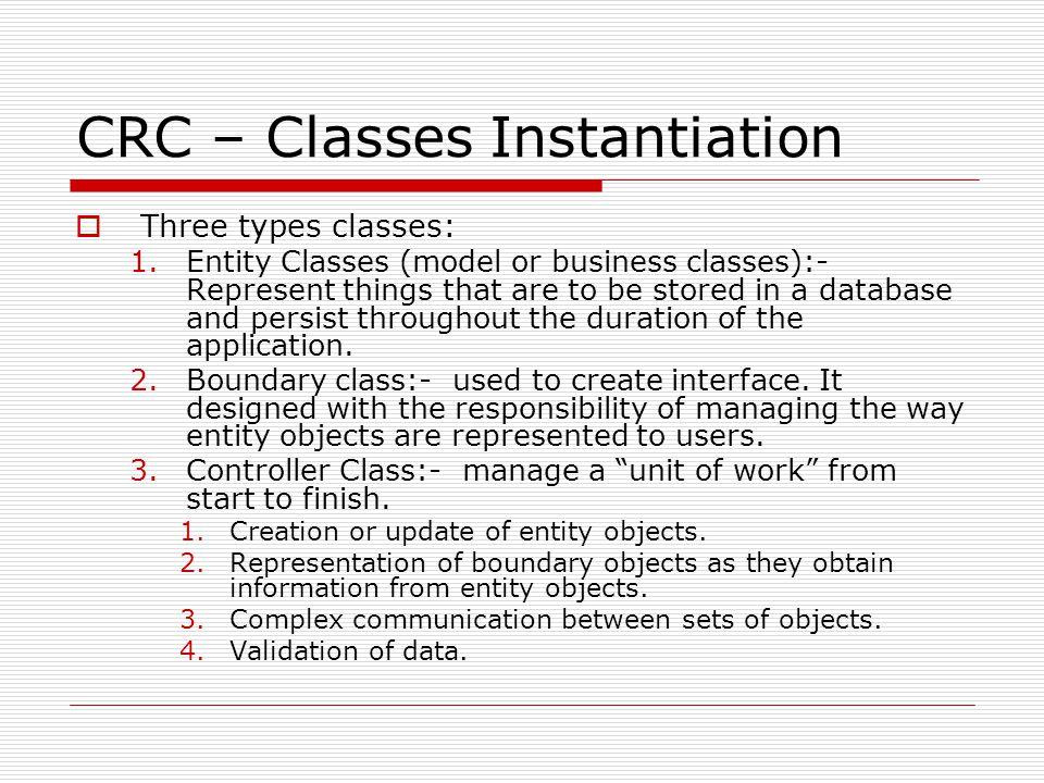 CRC – Classes Instantiation