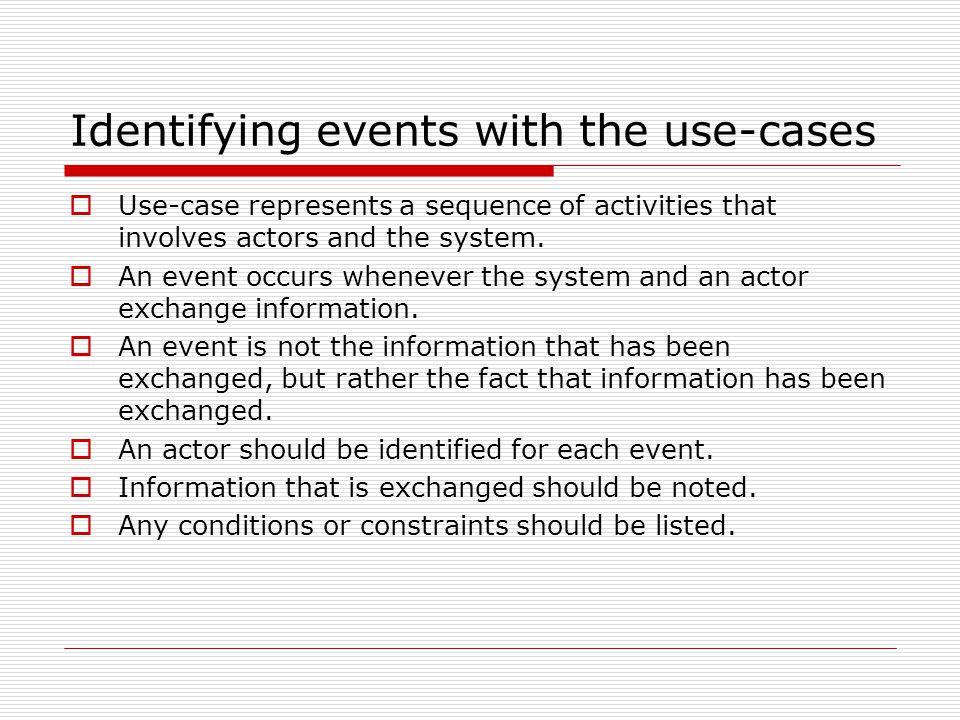Identifying events with the use-cases