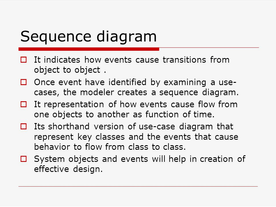 Sequence diagram It indicates how events cause transitions from object to object .