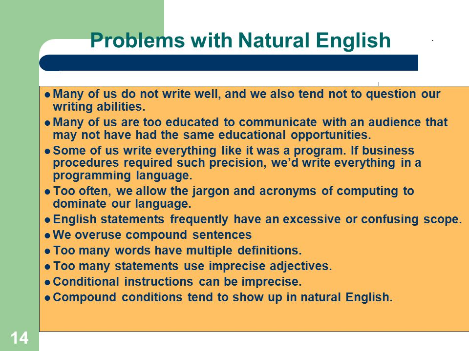 Problems with Natural English