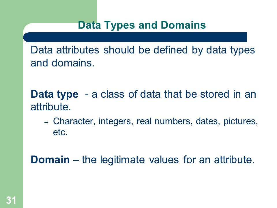 Data attributes should be defined by data types and domains.