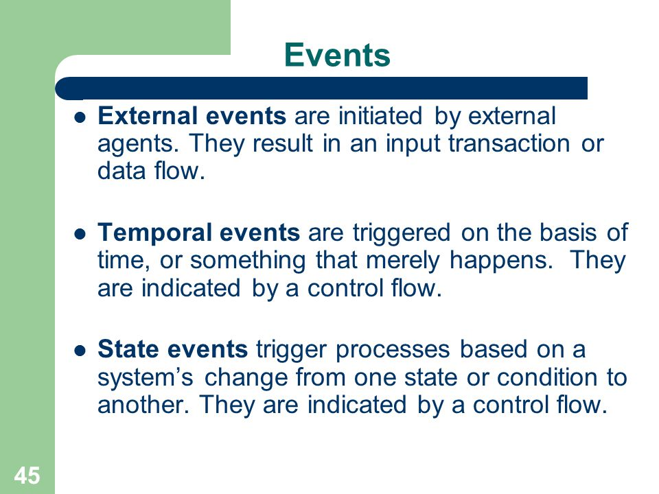 Events External events are initiated by external agents. They result in an input transaction or data flow.
