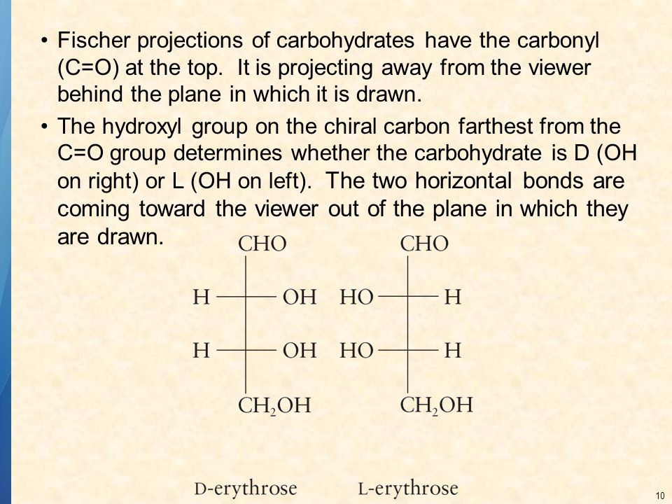 Fischer projections of carbohydrates have the carbonyl (C=O) at the top. It is projecting away from the viewer behind the plane in which it is drawn.
