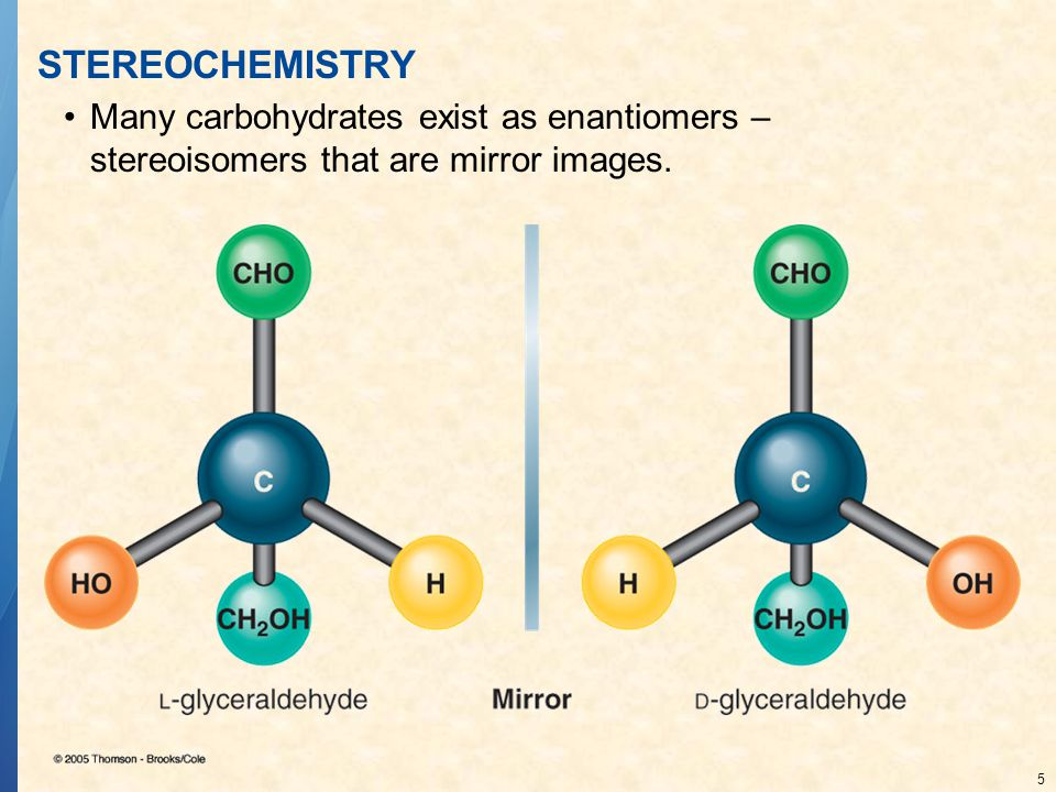 STEREOCHEMISTRY Many carbohydrates exist as enantiomers – stereoisomers that are mirror images.