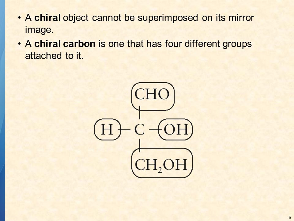 A chiral object cannot be superimposed on its mirror image.