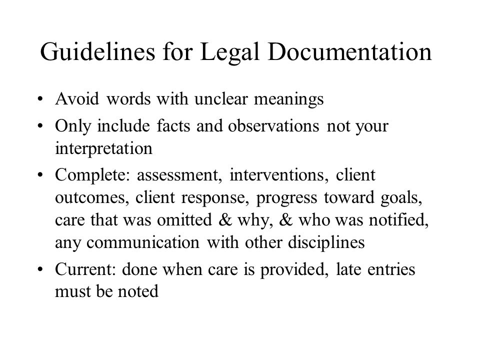 Guidelines for Legal Documentation