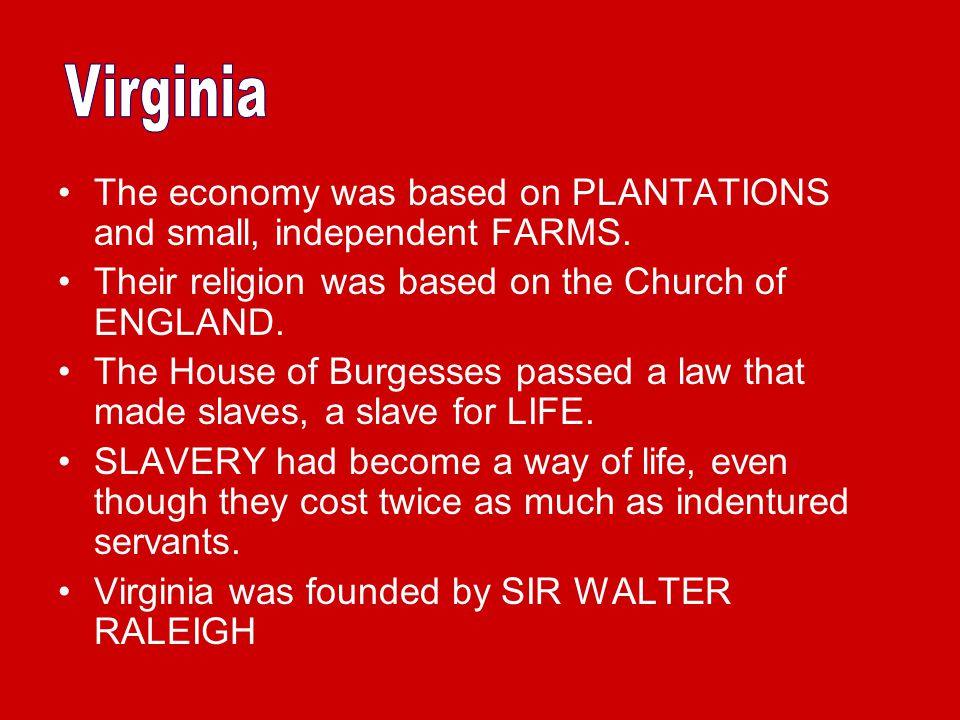 Virginia The economy was based on PLANTATIONS and small, independent FARMS. Their religion was based on the Church of ENGLAND.