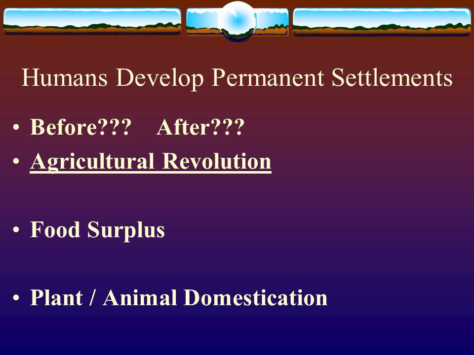 Humans Develop Permanent Settlements