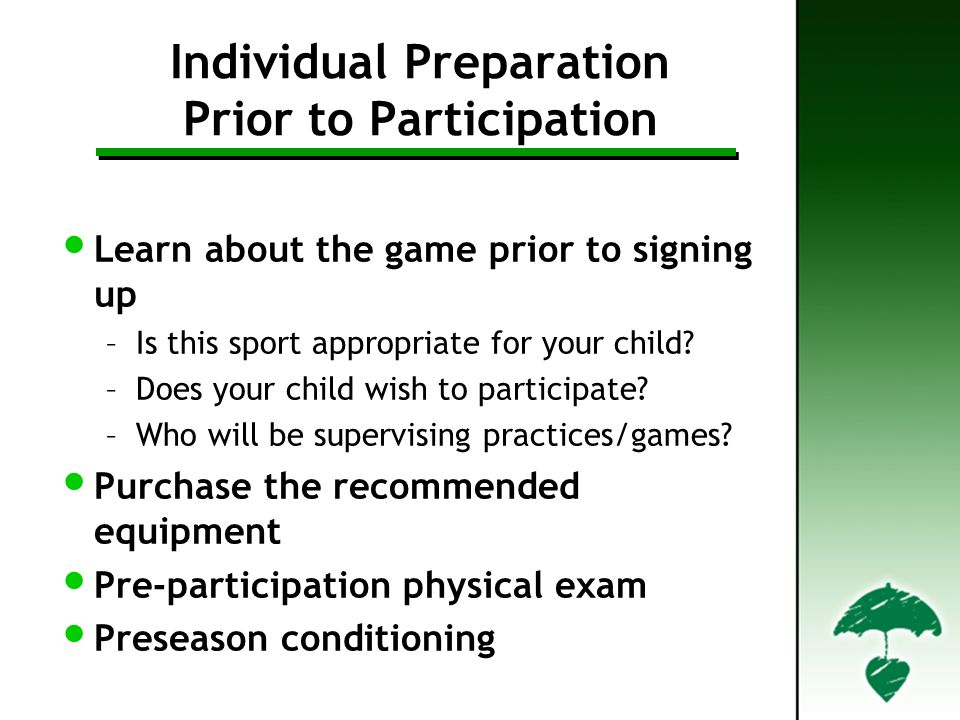 Individual Preparation Prior to Participation