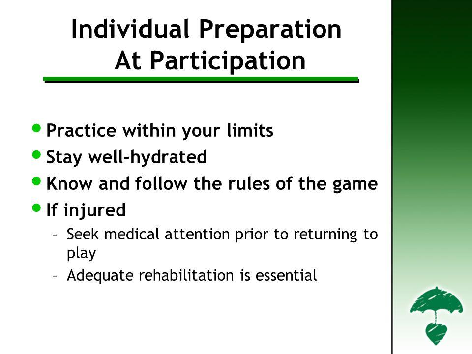 Individual Preparation At Participation