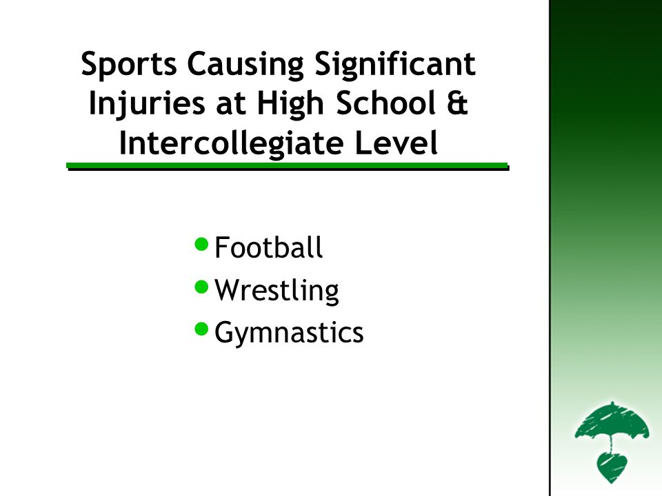 Sports Causing Significant Injuries at High School & Intercollegiate Level