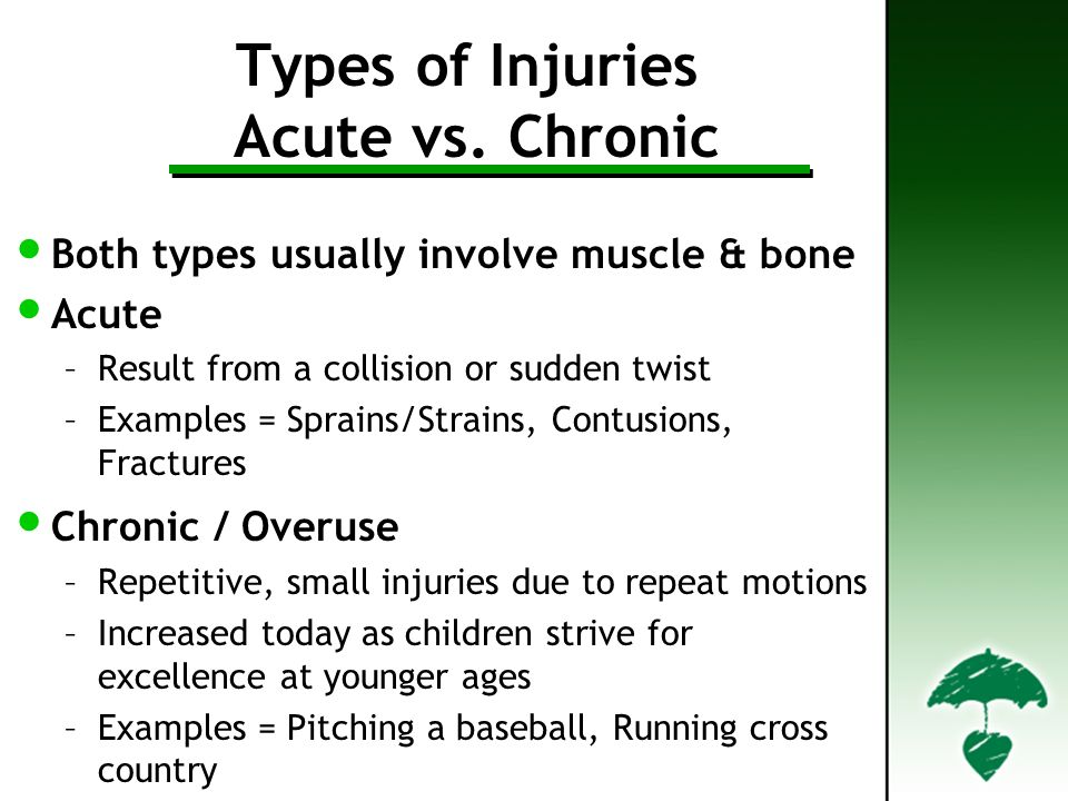 Types of Injuries Acute vs. Chronic