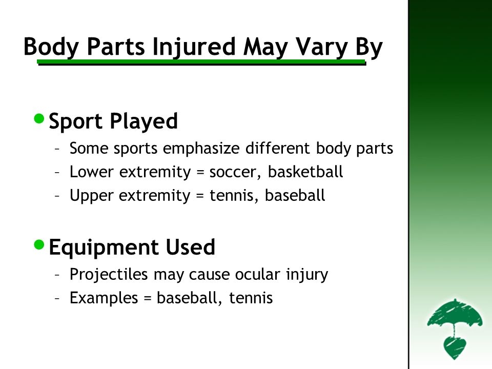 Body Parts Injured May Vary By
