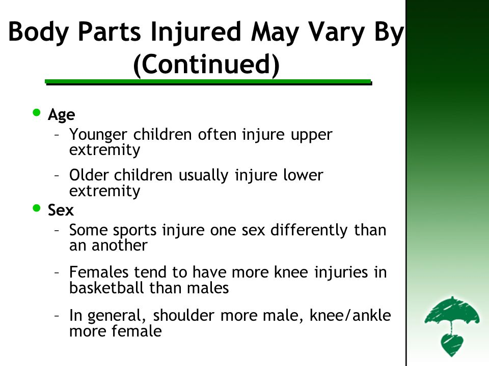 Body Parts Injured May Vary By (Continued)