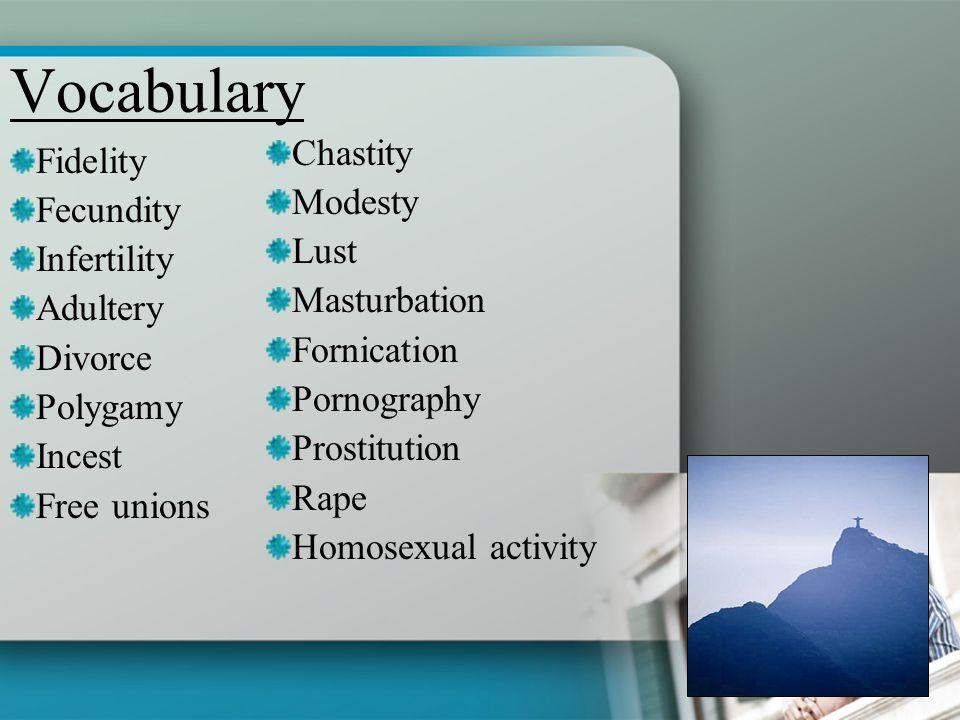 Vocabulary Chastity Fidelity Modesty Fecundity Lust Infertility