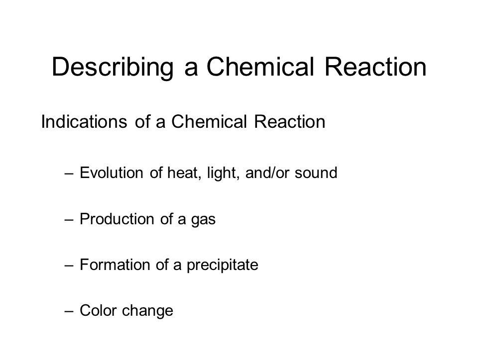 Describing a Chemical Reaction