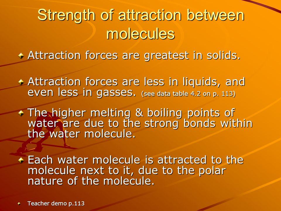 Strength of attraction between molecules