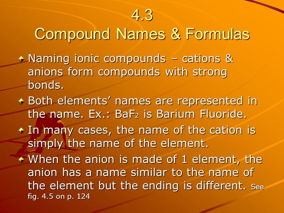 4.3 Compound Names & Formulas