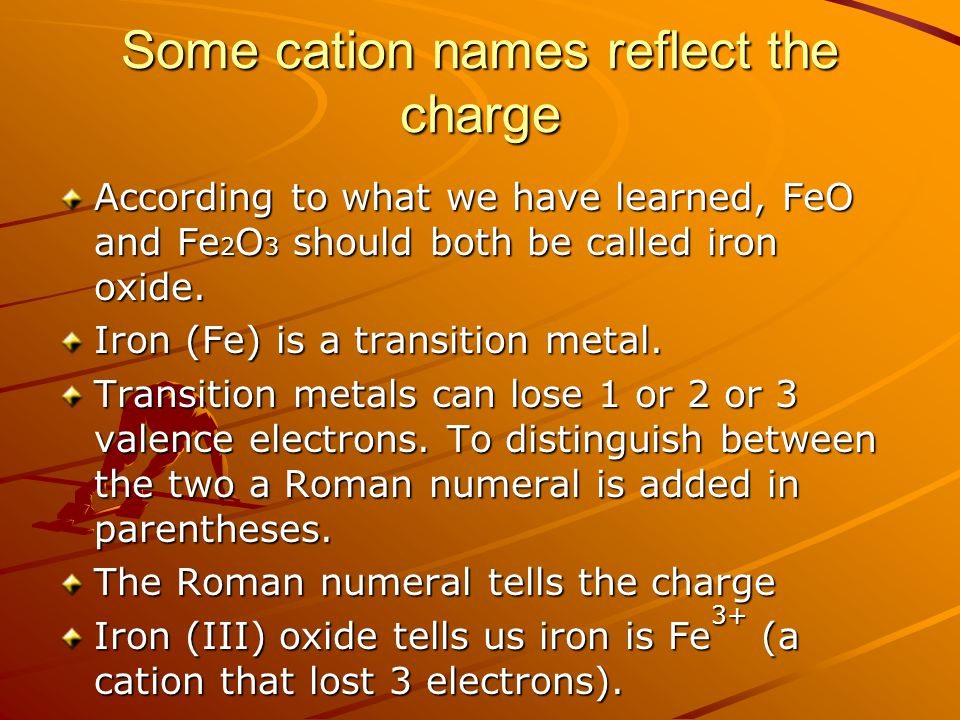 Some cation names reflect the charge