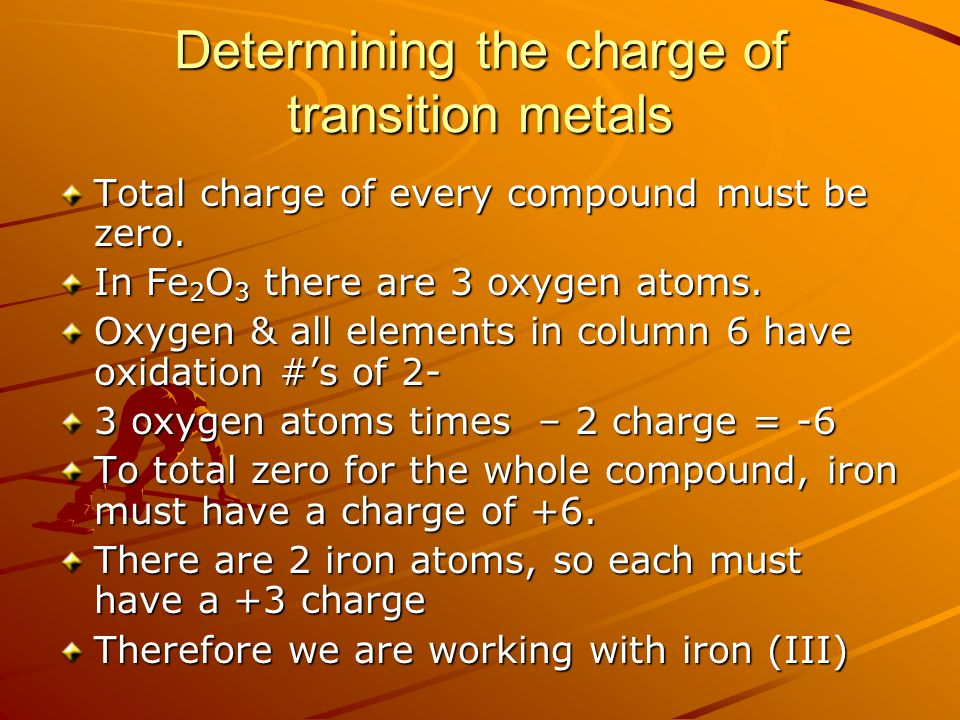 Determining the charge of transition metals