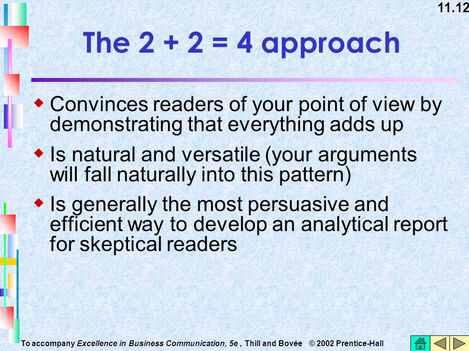 The 2 + 2 = 4 approach Convinces readers of your point of view by demonstrating that everything adds up.