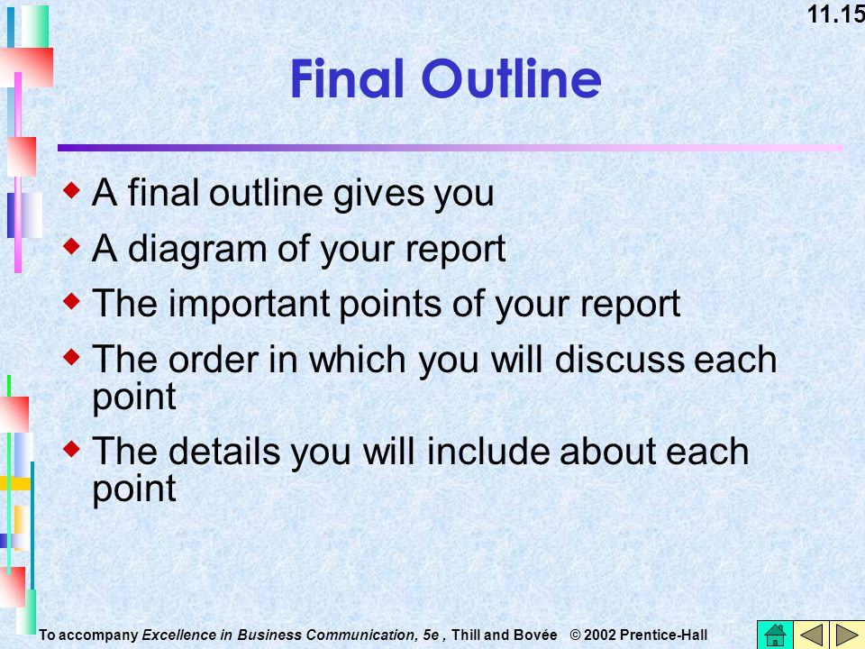 Final Outline A final outline gives you A diagram of your report