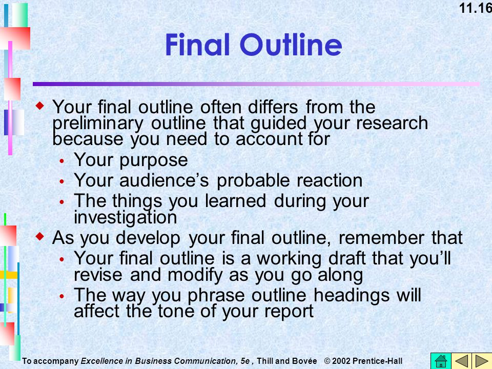 Final Outline Your final outline often differs from the preliminary outline that guided your research because you need to account for.