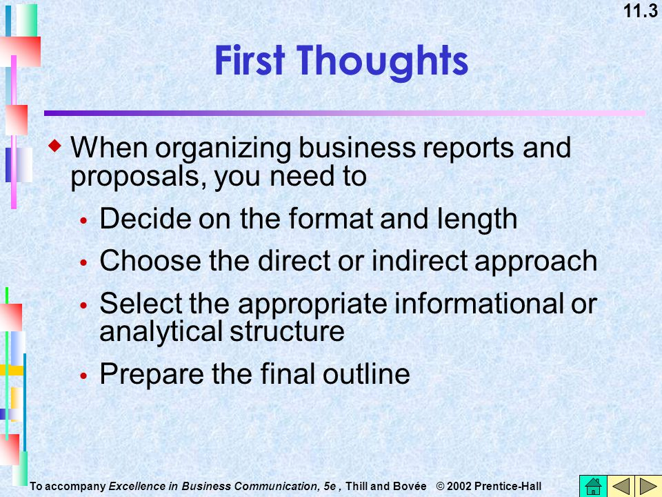 First Thoughts When organizing business reports and proposals, you need to. Decide on the format and length.