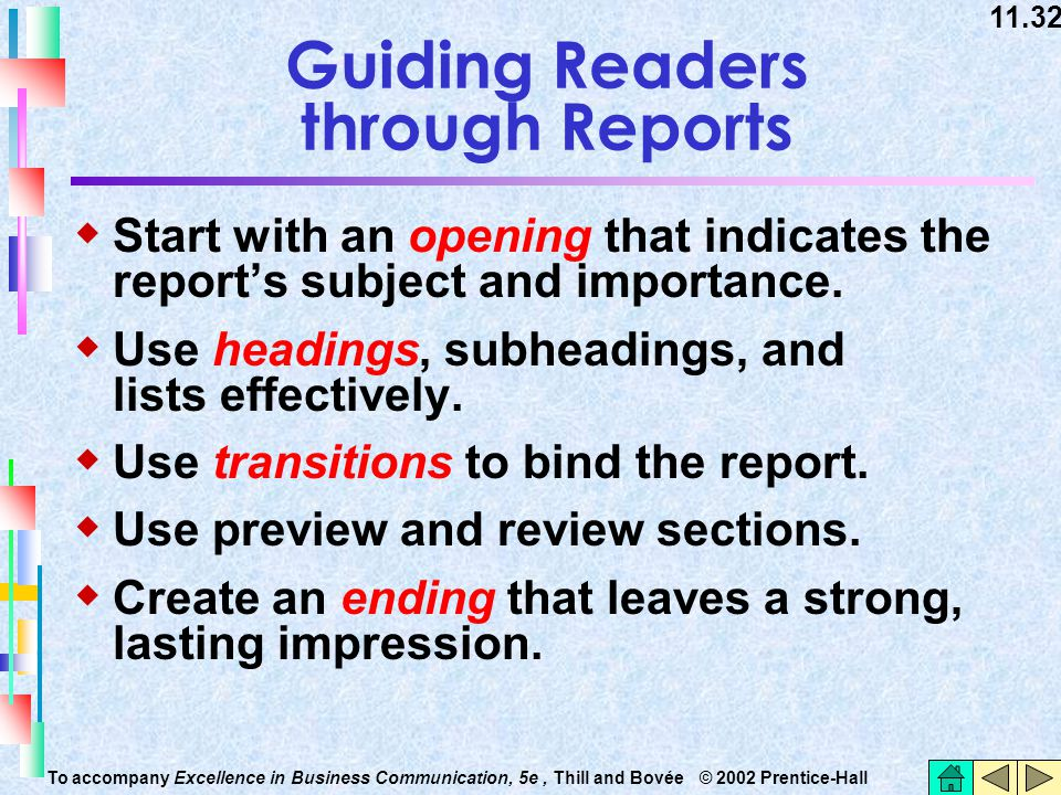 Guiding Readers through Reports