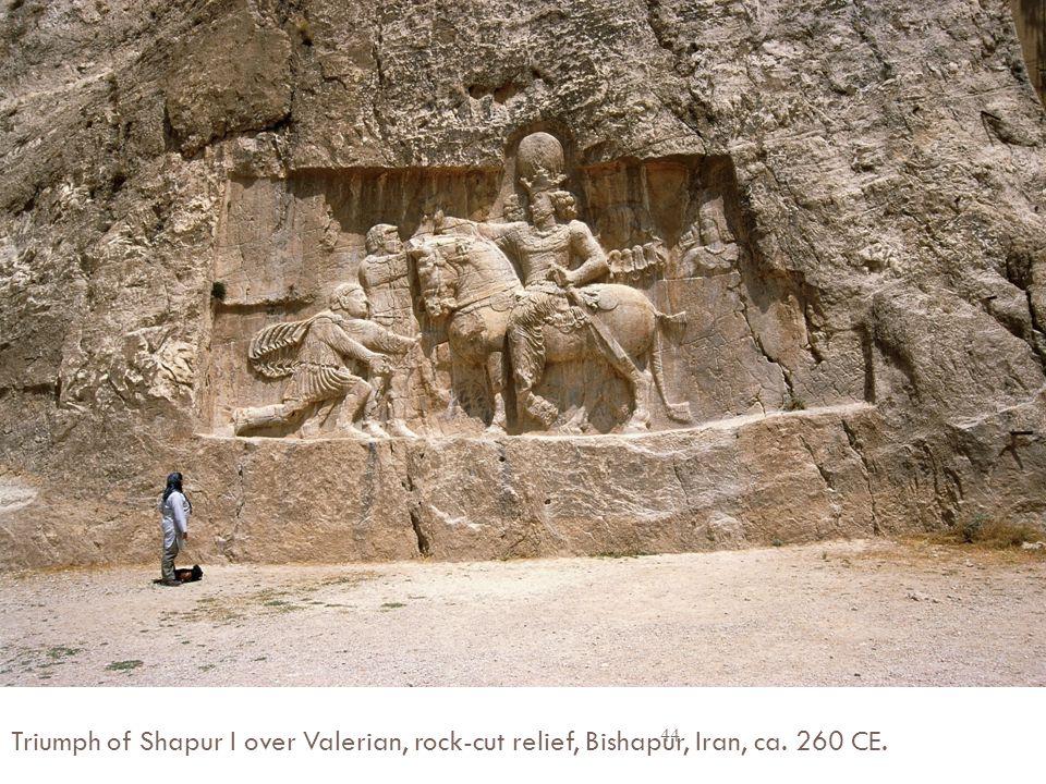 Triumph of Shapur I over Valerian, rock-cut relief, Bishapur, Iran, ca