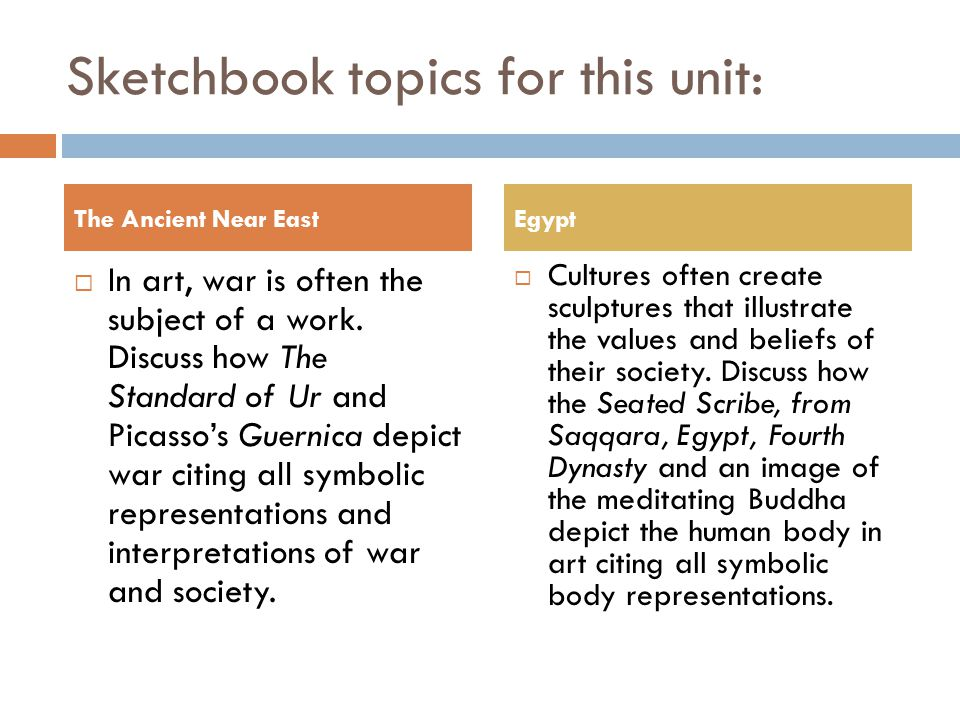 Sketchbook topics for this unit: